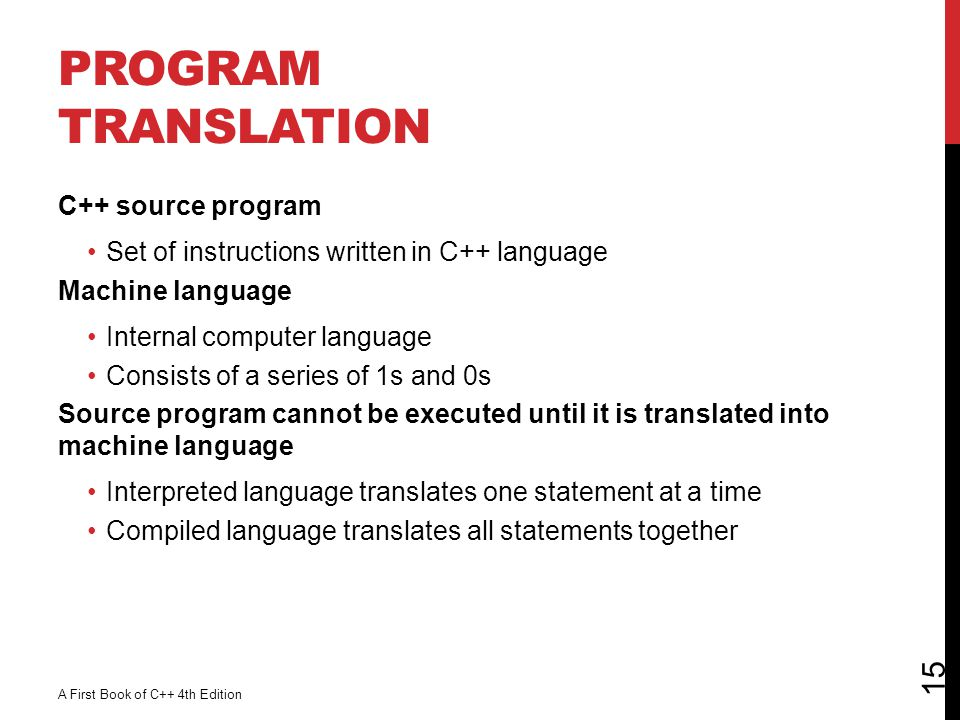 Program Translation C++ source program