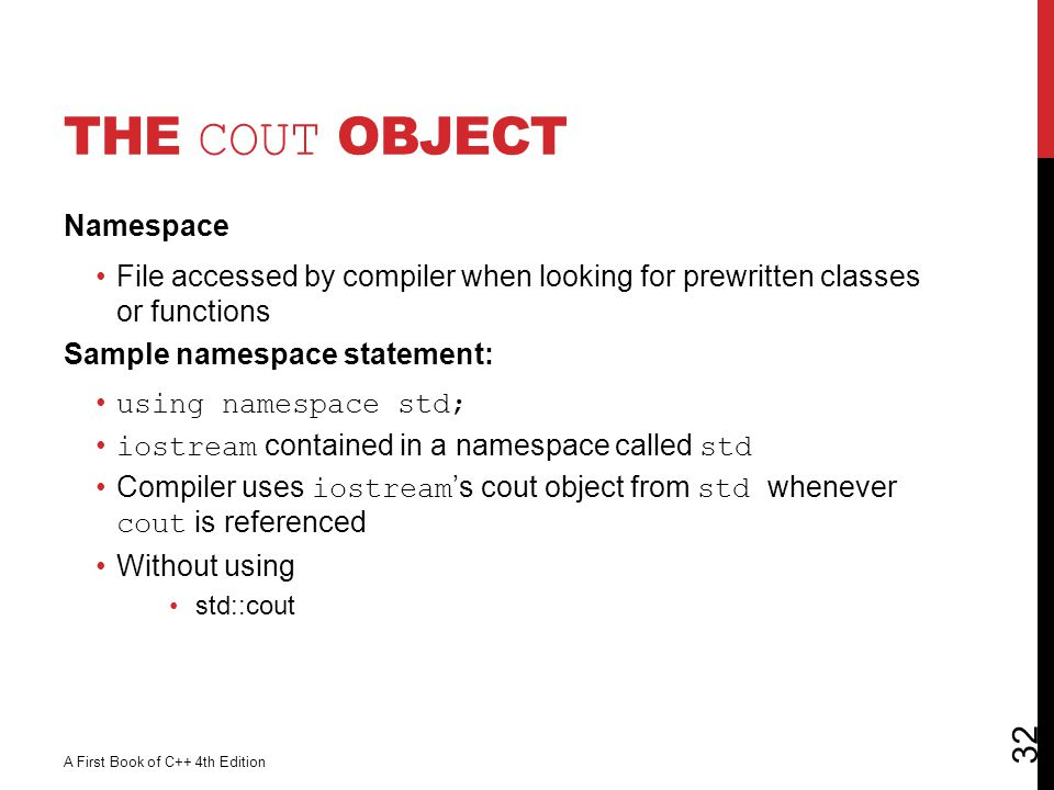 The cout Object Namespace