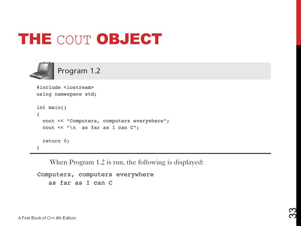 The cout Object A First Book of C++ 4th Edition