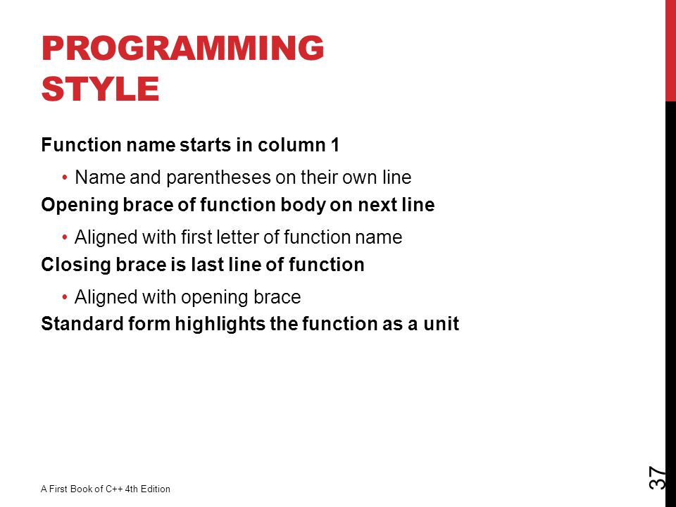 Programming Style Function name starts in column 1