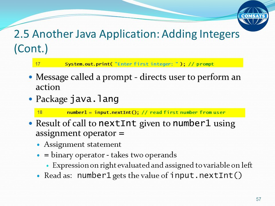 2.5 Another Java Application: Adding Integers (Cont.)