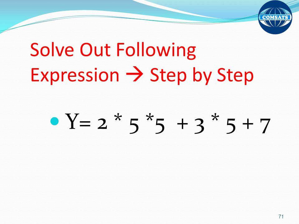 Solve Out Following Expression  Step by Step