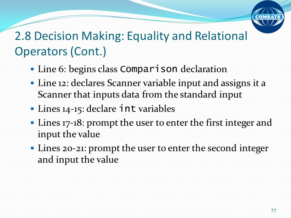 2.8 Decision Making: Equality and Relational Operators (Cont.)