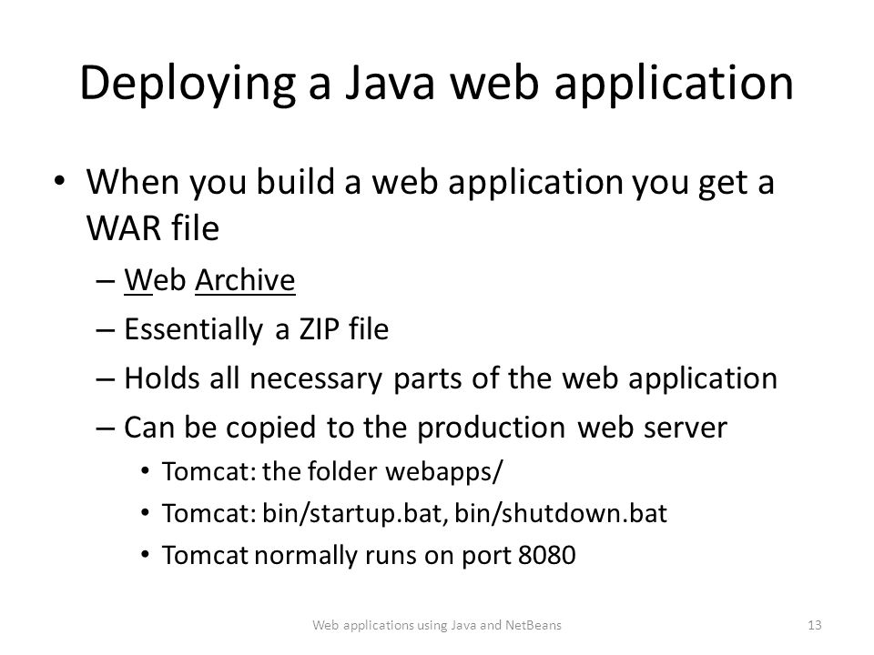 Deploying a Java web application