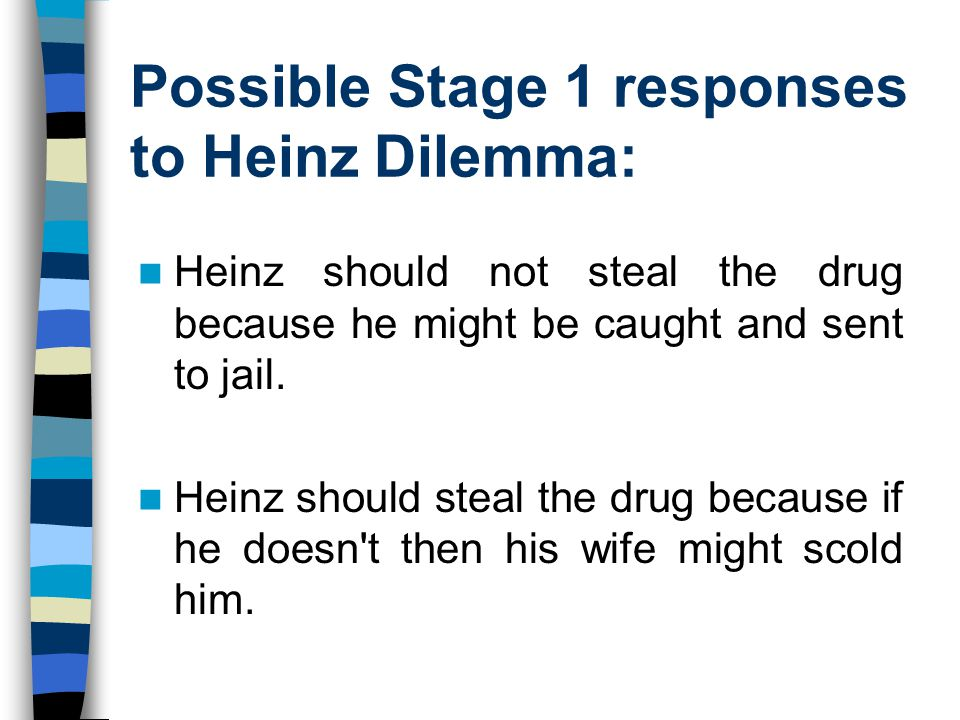 Possible Stage 1 responses to Heinz Dilemma: