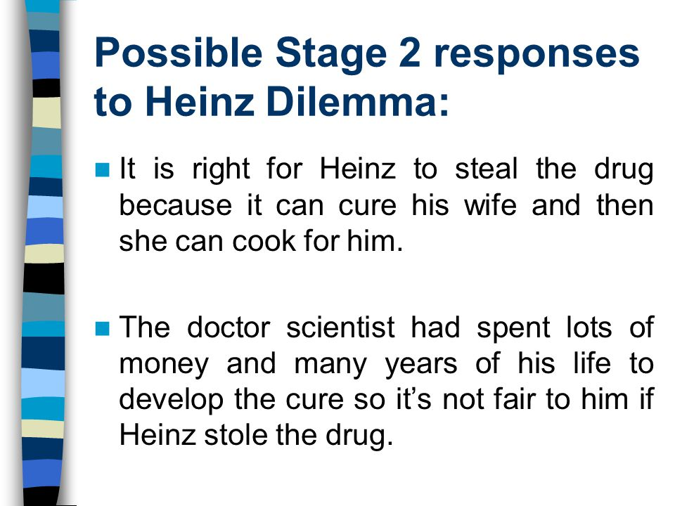 Possible Stage 2 responses to Heinz Dilemma:
