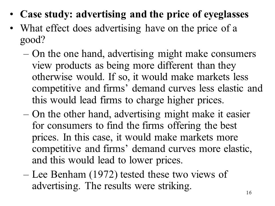 Case study: advertising and the price of eyeglasses
