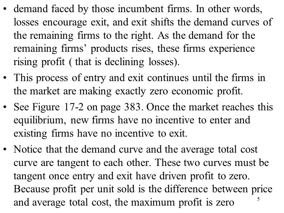 demand faced by those incumbent firms