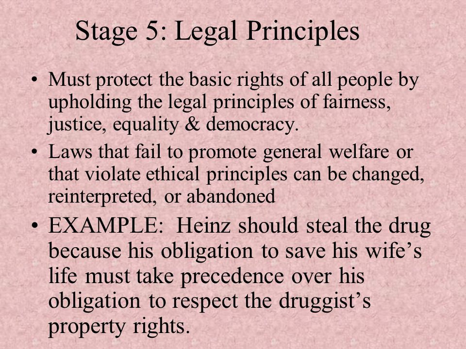 Stage 5: Legal Principles