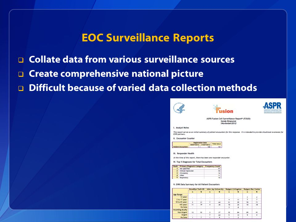 EOC Surveillance Reports