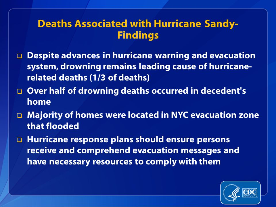 Deaths Associated with Hurricane Sandy- Findings