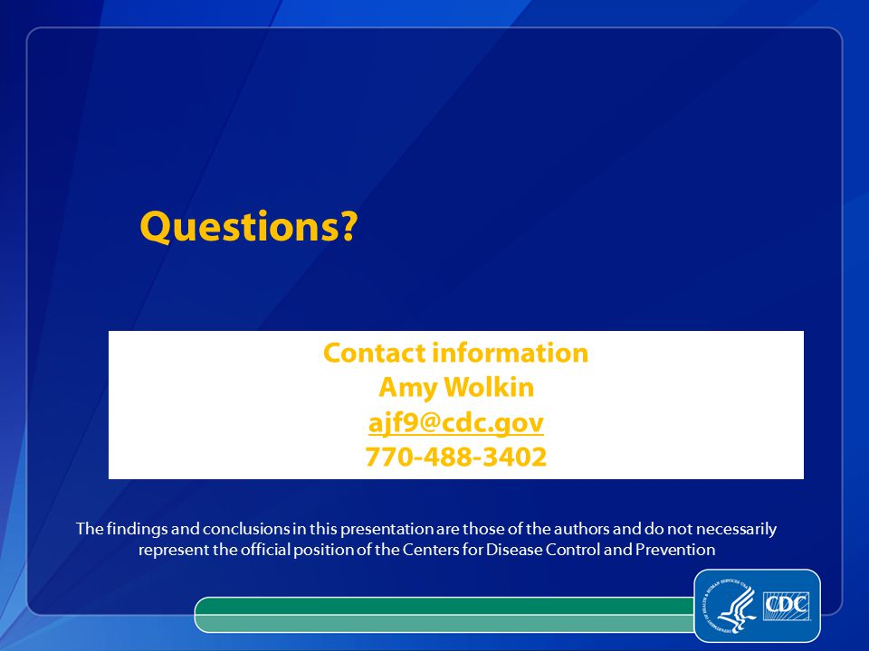Questions Contact information. Amy Wolkin