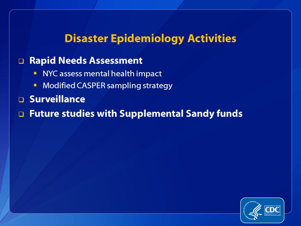 Disaster Epidemiology Activities