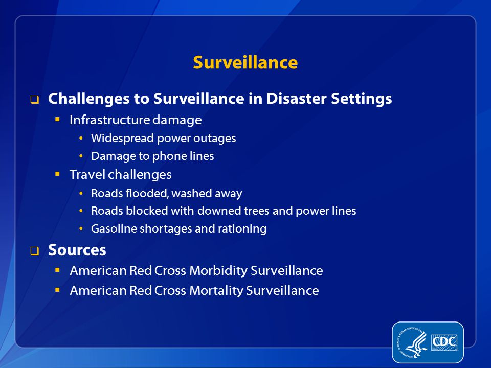 Surveillance Challenges to Surveillance in Disaster Settings Sources