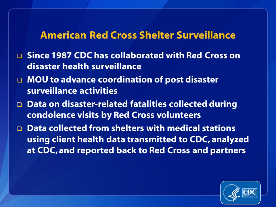 American Red Cross Shelter Surveillance