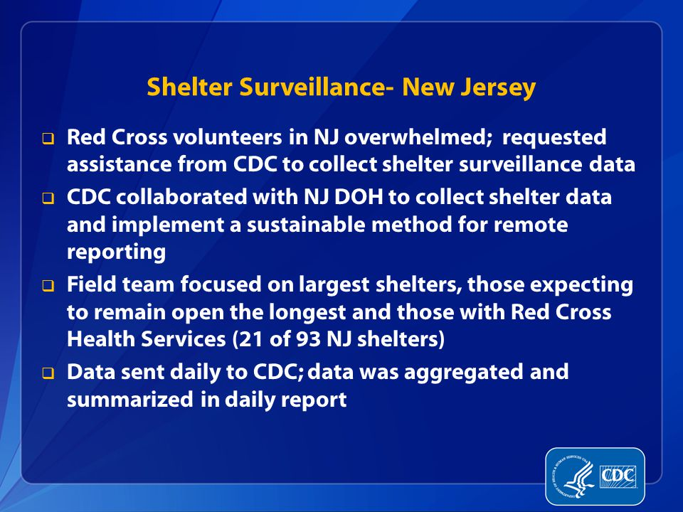 Shelter Surveillance- New Jersey