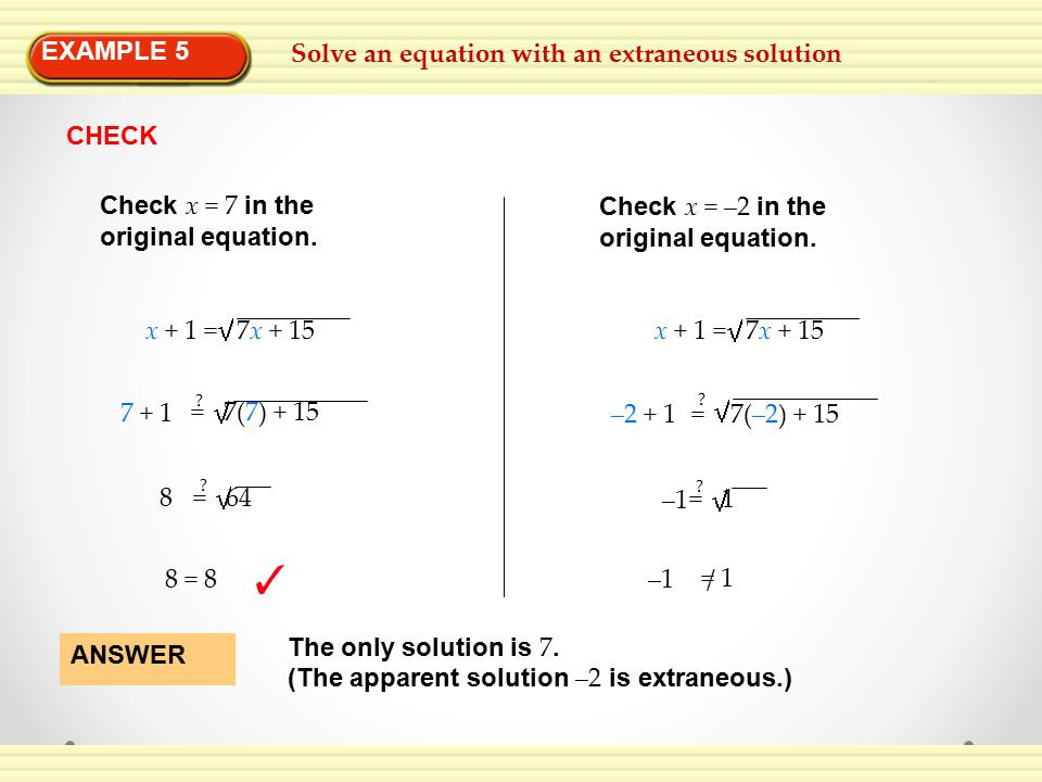 EXAMPLE 5 Solve an equation with an extraneous solution. CHECK. Check x = 7 in the. original equation.
