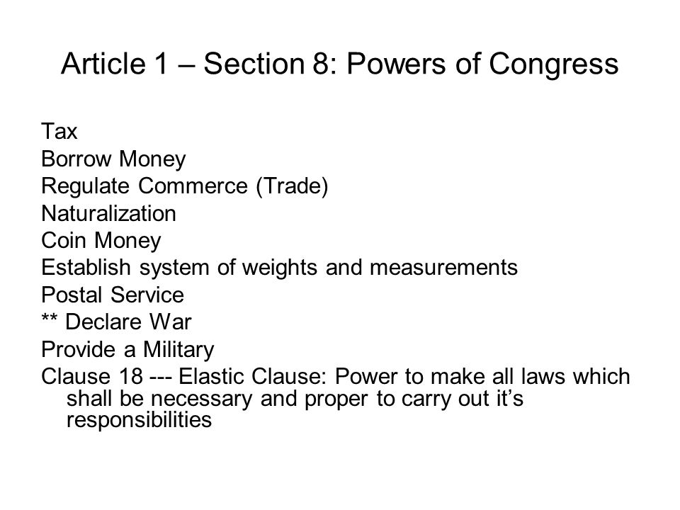 Article 1 SWBAT: Unit 6 – The US Government: 9  The student