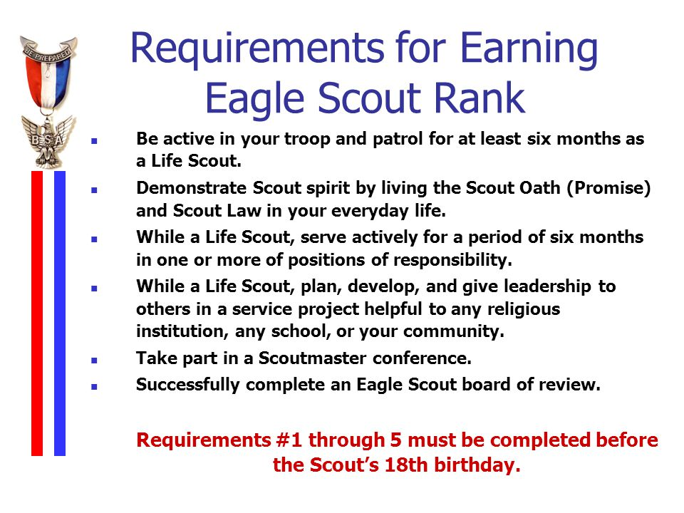 eagle scout requirements before 18th birthday