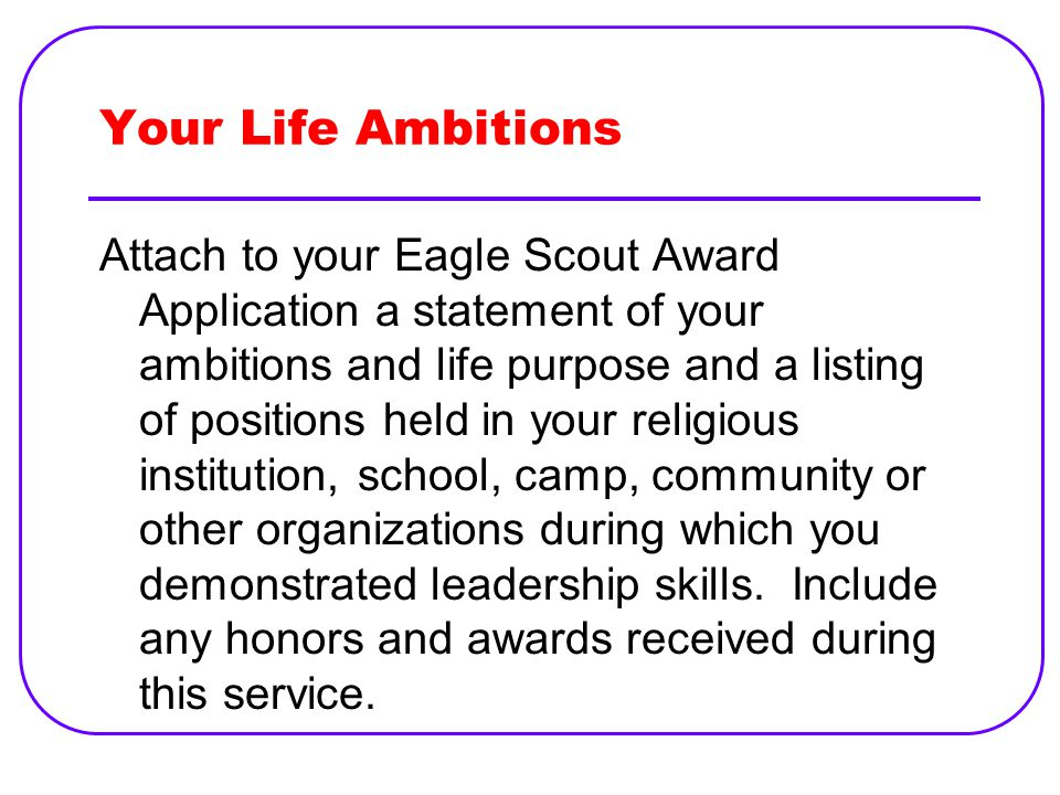 eagle scout life purpose statement example