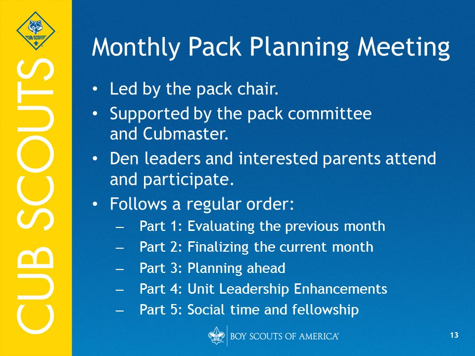 Monthly Pack Planning Meeting