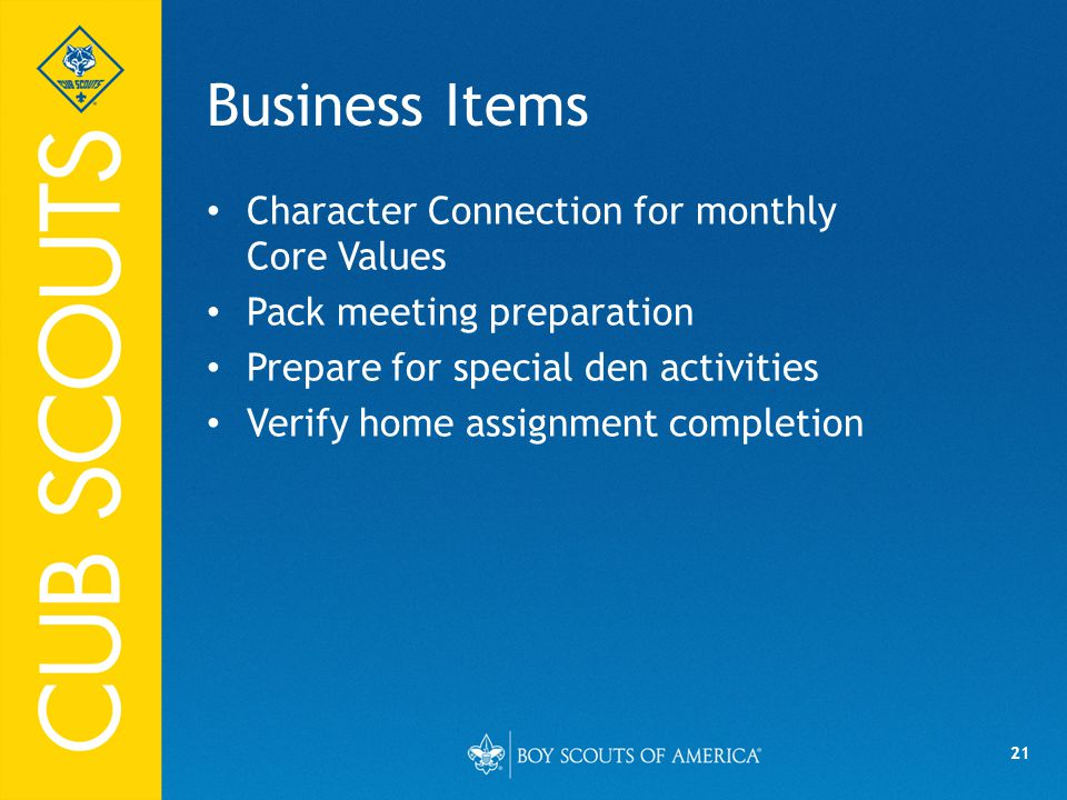 Business Items Character Connection for monthly Core Values