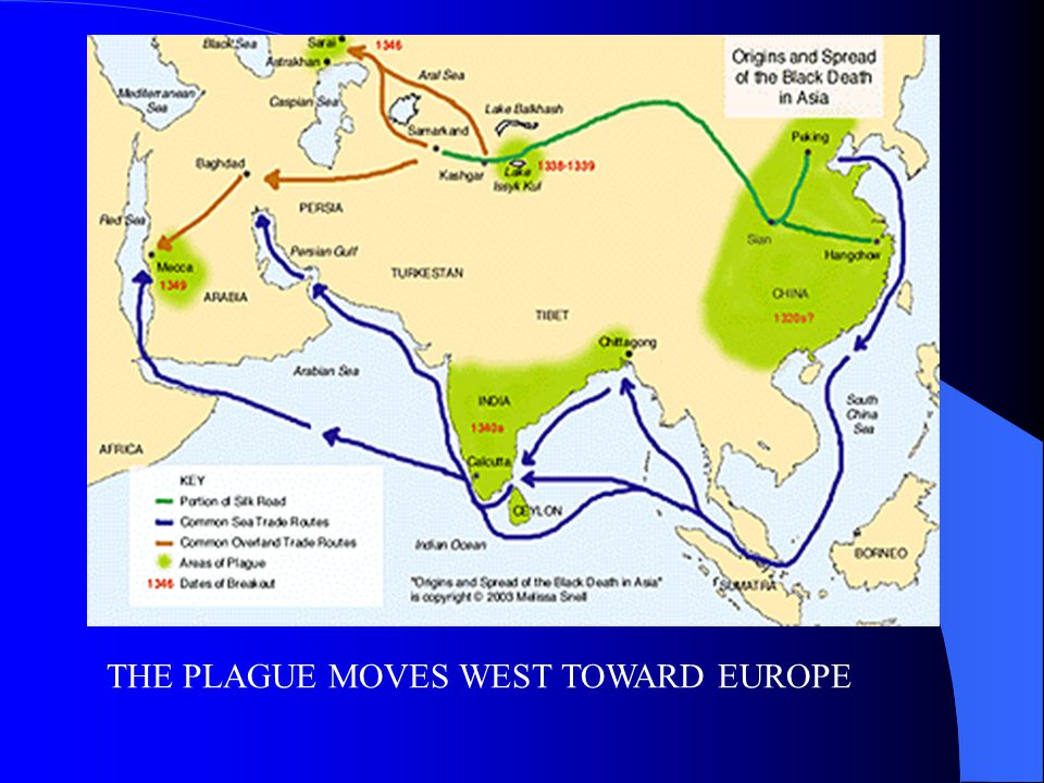 THE PLAGUE MOVES WEST TOWARD EUROPE