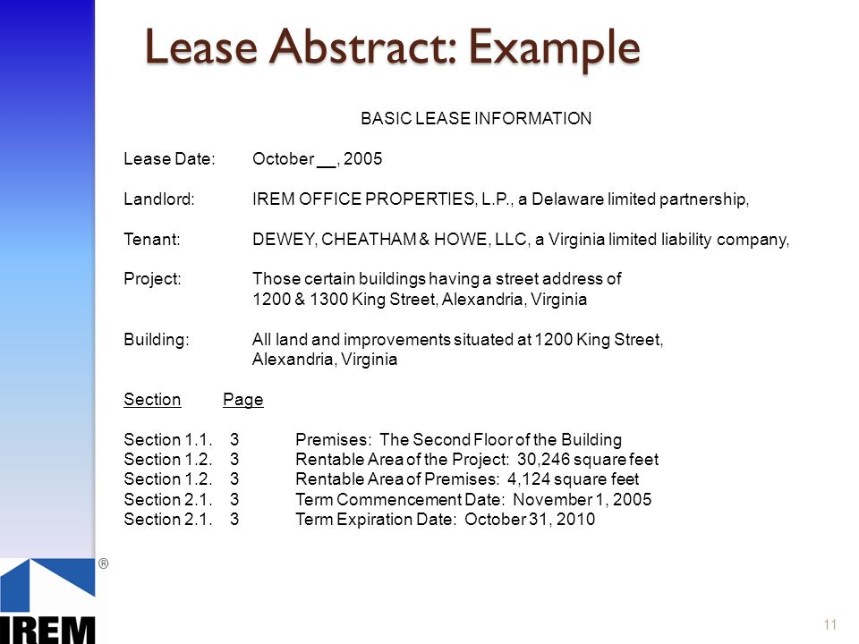 11 Lease Abstract Example