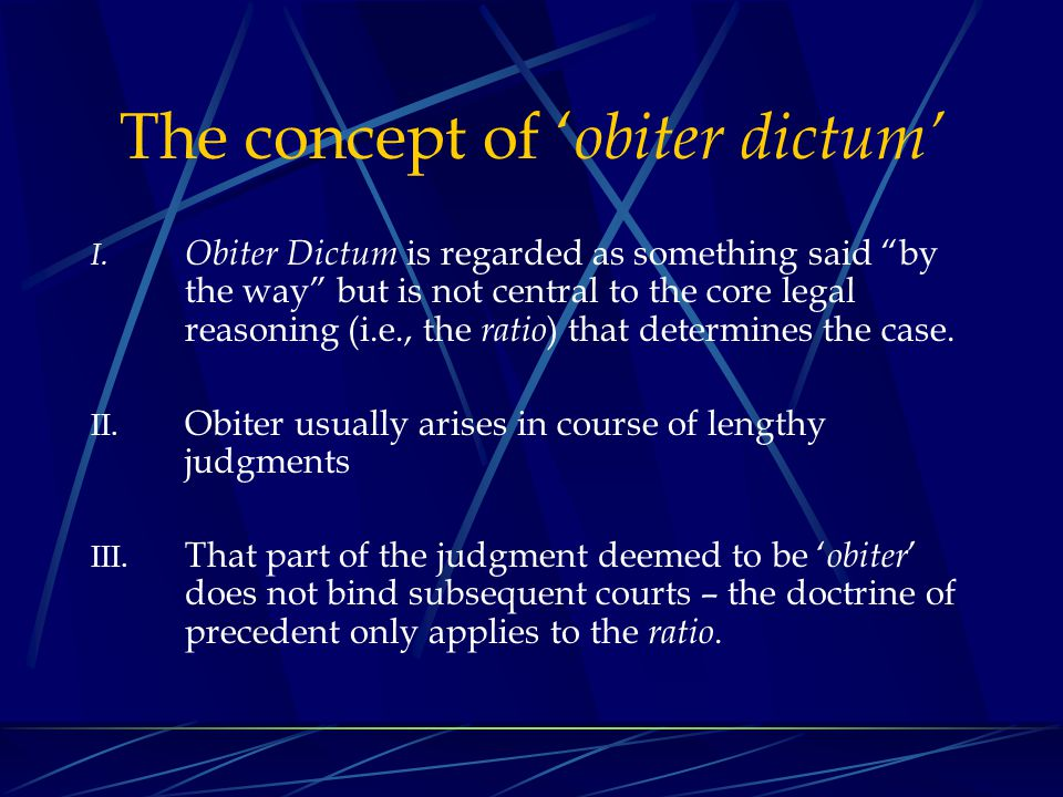 The concept of 'obiter dictum'