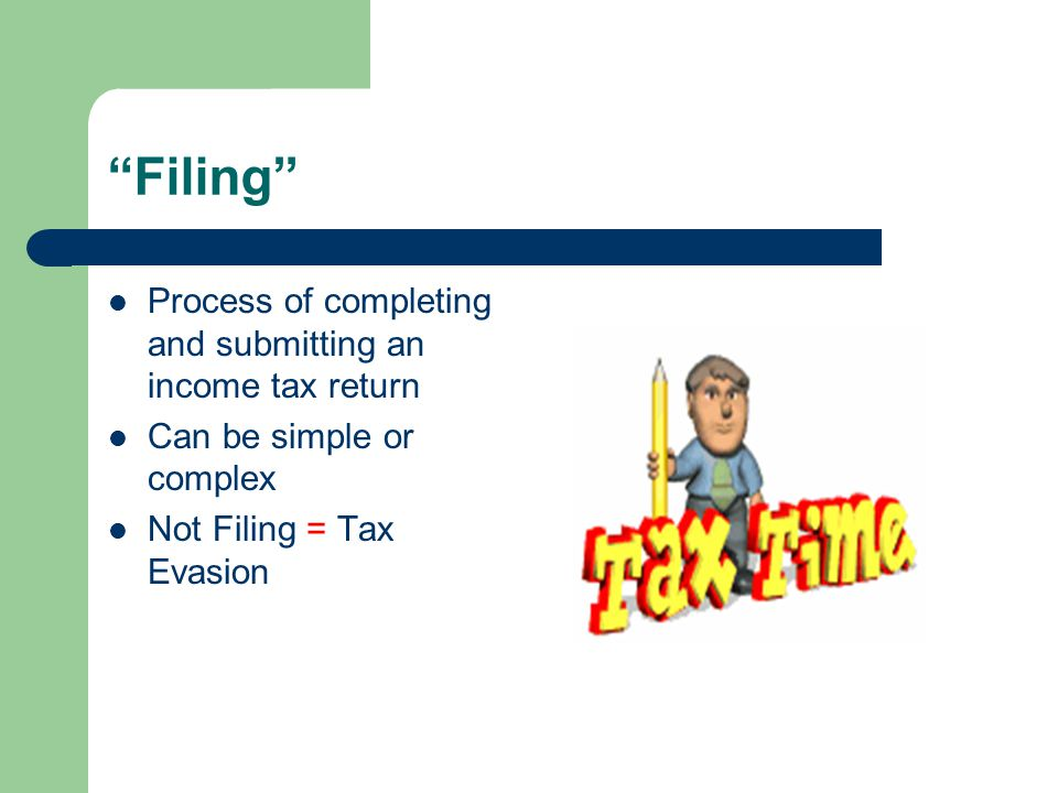 Filing Process of completing and submitting an income tax return