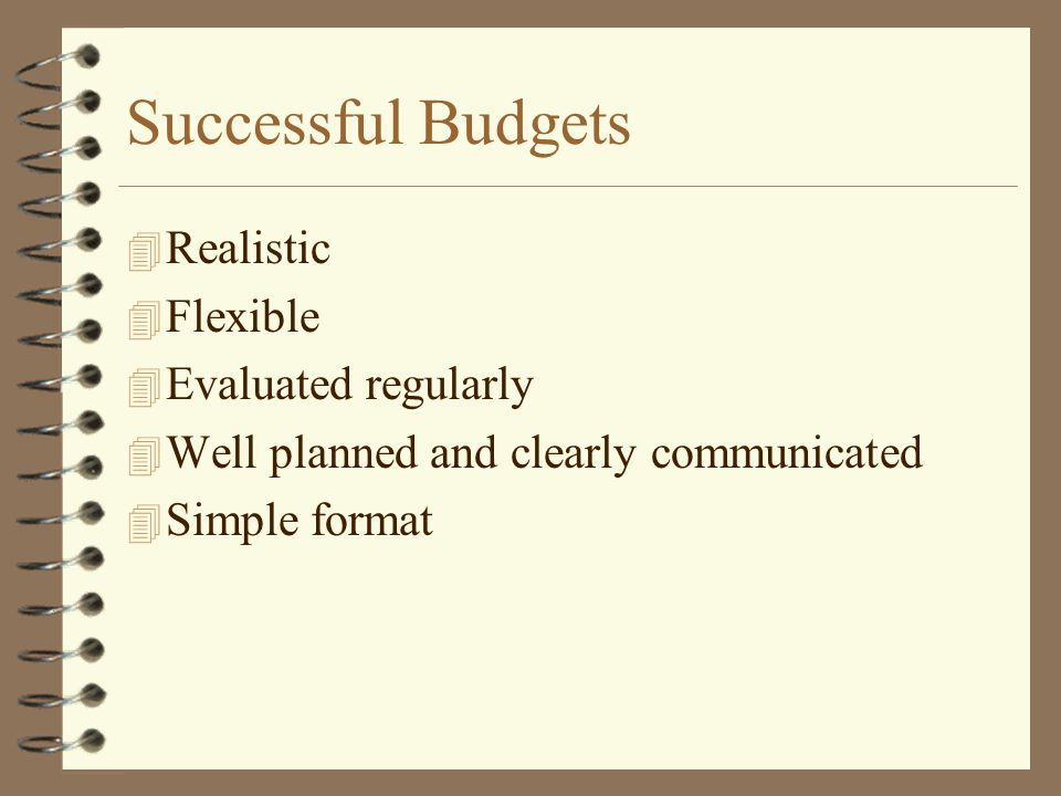Successful Budgets Realistic Flexible Evaluated regularly