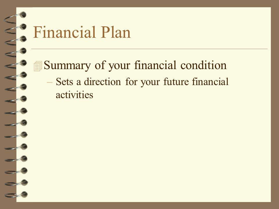 Financial Plan Summary of your financial condition