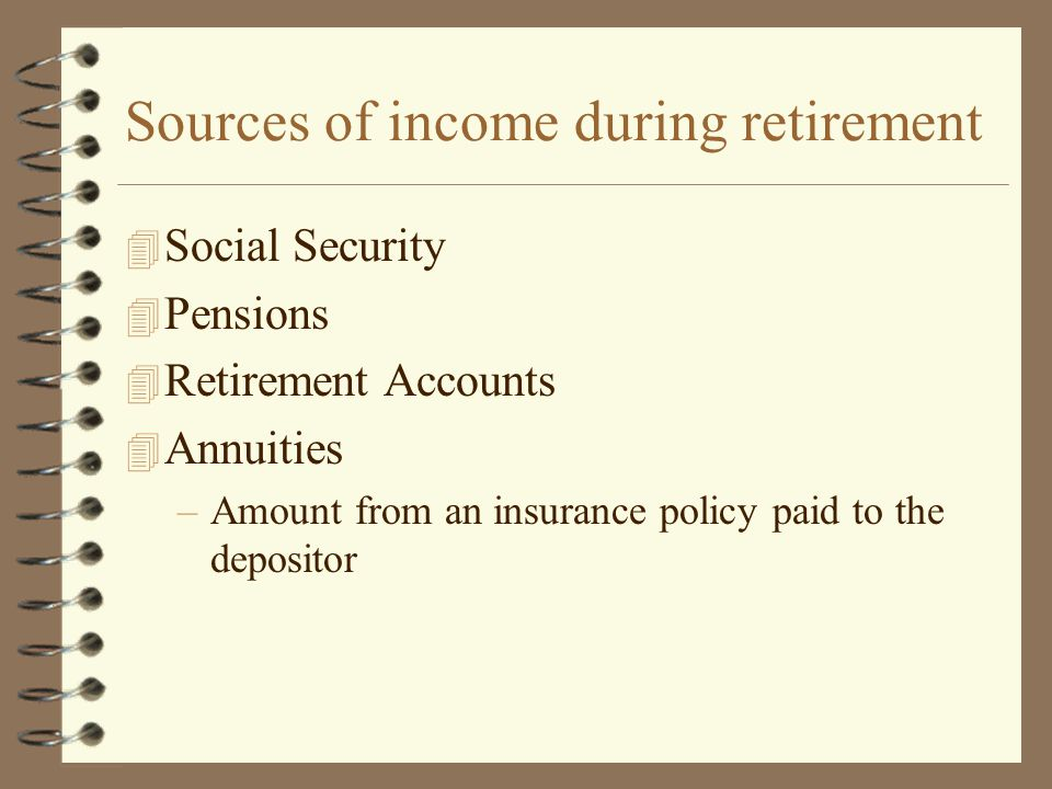 Sources of income during retirement