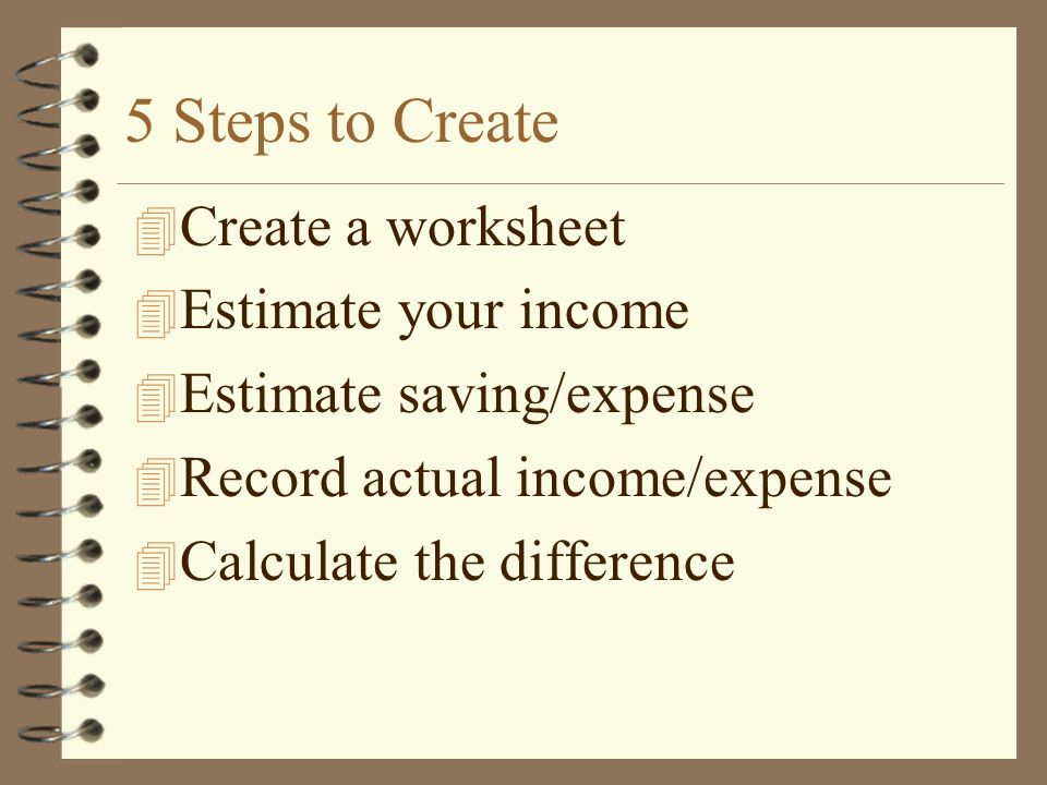 5 Steps to Create Create a worksheet Estimate your income