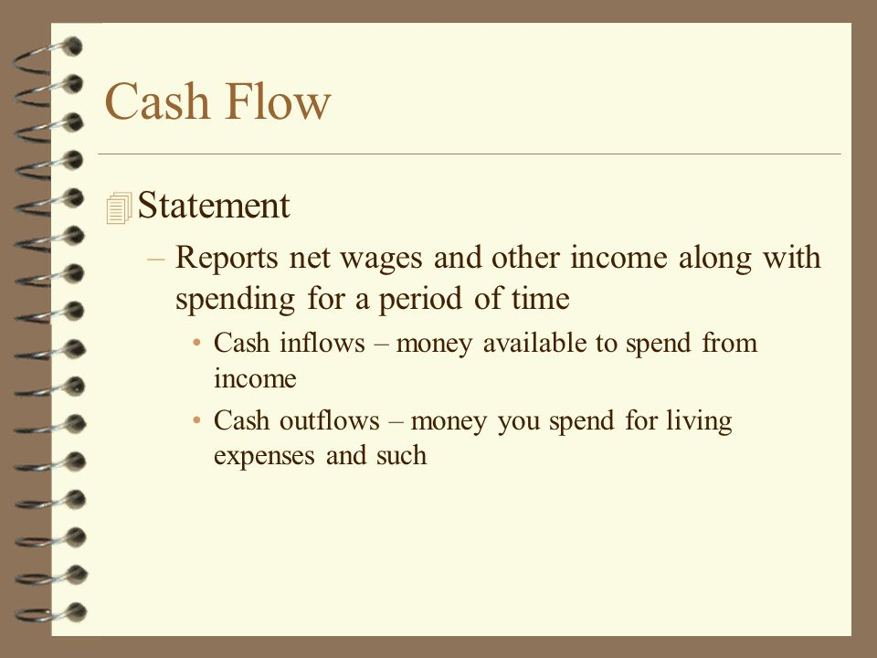 Cash Flow Statement. Reports net wages and other income along with spending for a period of time.