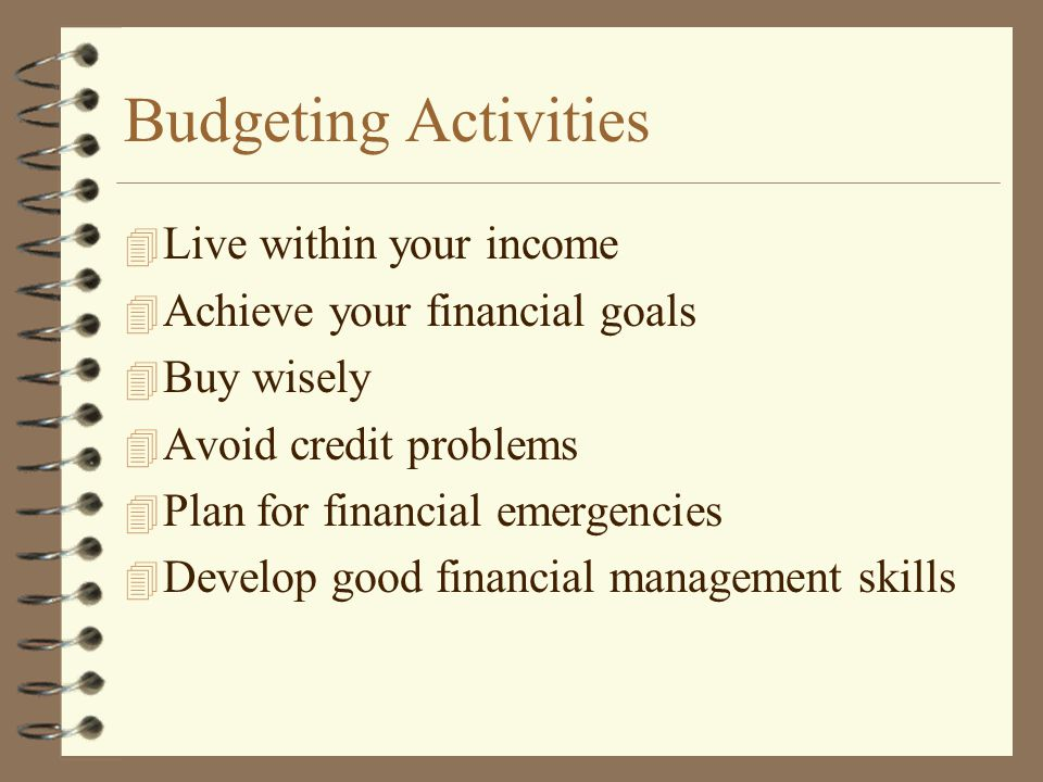 Budgeting Activities Live within your income