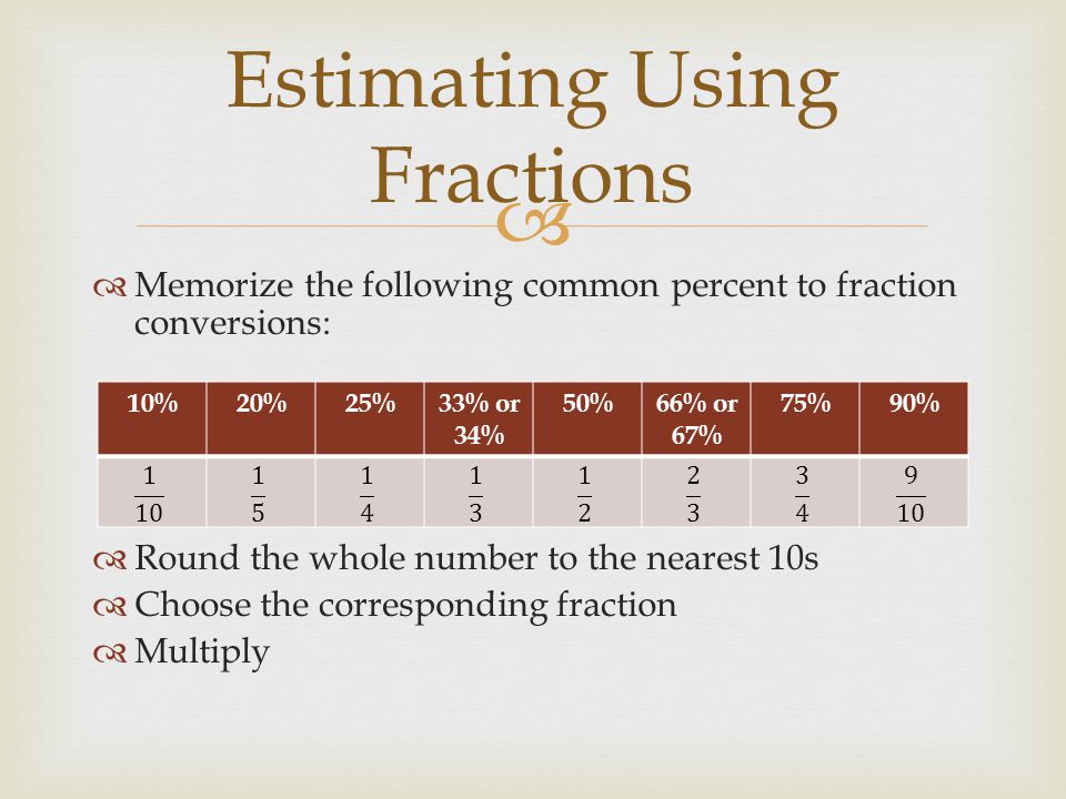 Estimating Using Fractions