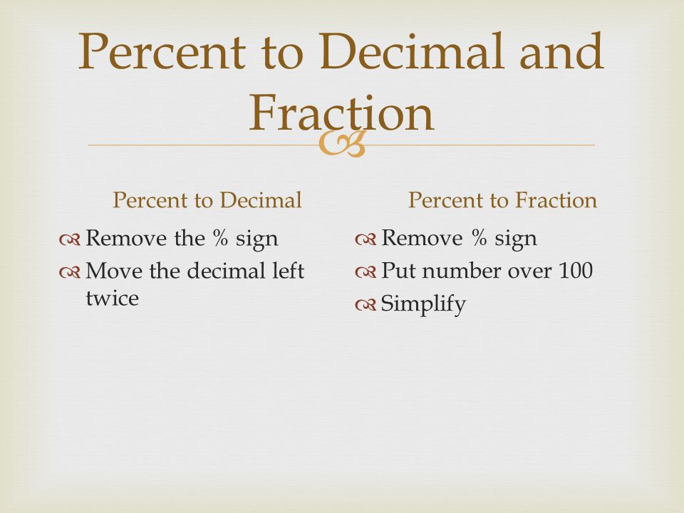 Percent to Decimal and Fraction