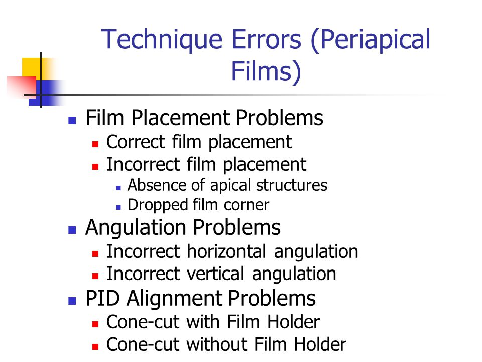 Technique Errors (Periapical Films)