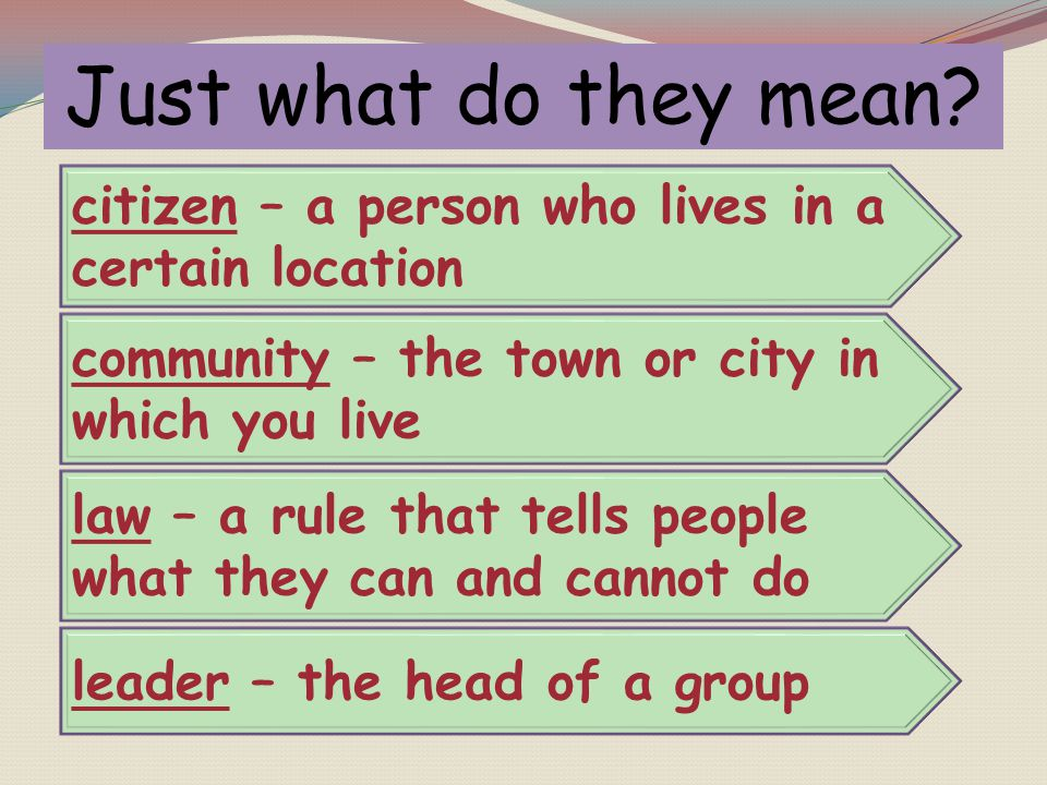 Just what do they mean citizen – a person who lives in a certain location. community – the town or city in which you live.