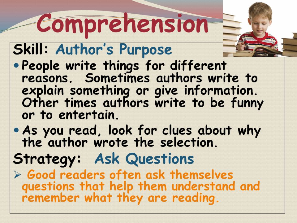 Comprehension Skill: Author's Purpose Strategy: Ask Questions