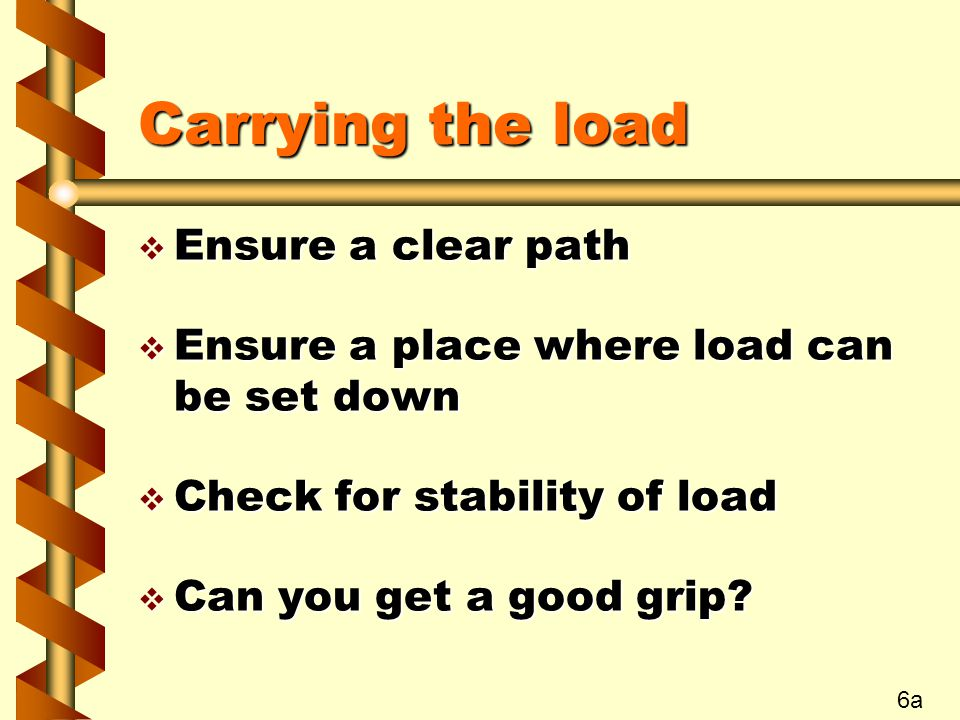 Carrying the load Ensure a clear path