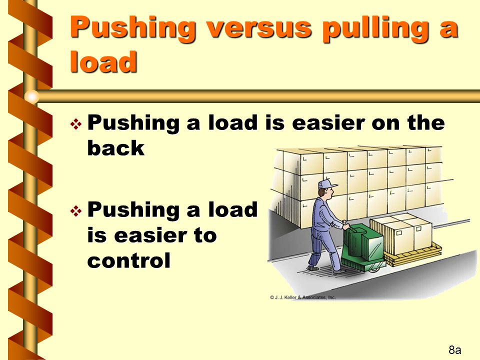 Pushing versus pulling a load