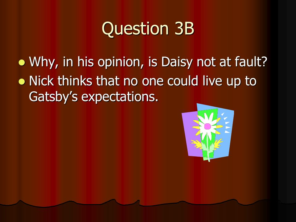 great gatsby opinion In the novel the great gatsby, do you think daisy buchanan is actually in love with jay gatsby why or why not.