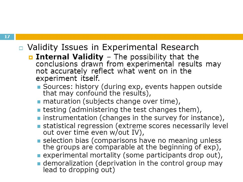Validity Issues in Experimental Research