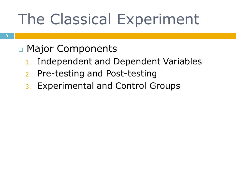 The Classical Experiment