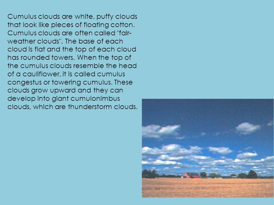Cumulus clouds are white, puffy clouds that look like pieces of floating cotton.