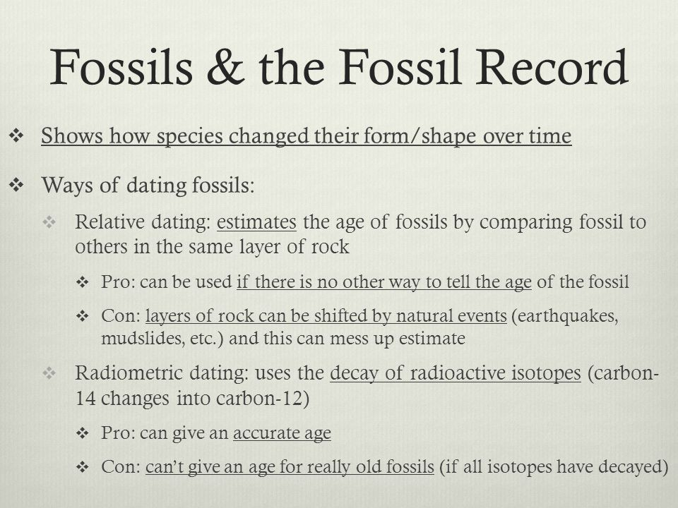 Fossils & the Fossil Record