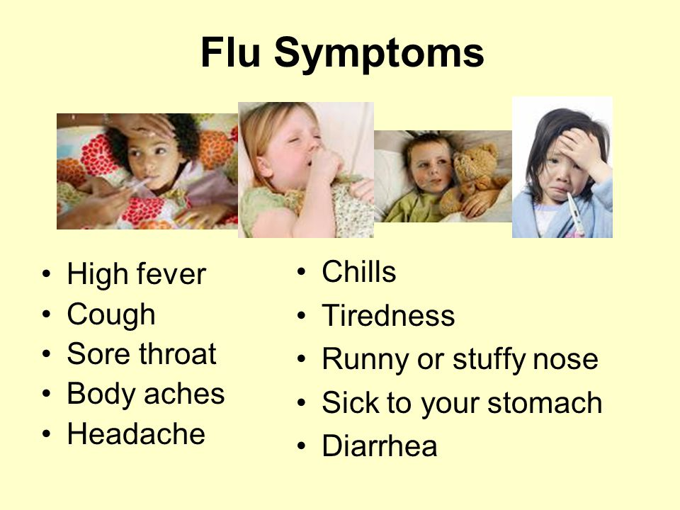 Flu Symptoms Chills High fever Tiredness Cough Sore throat