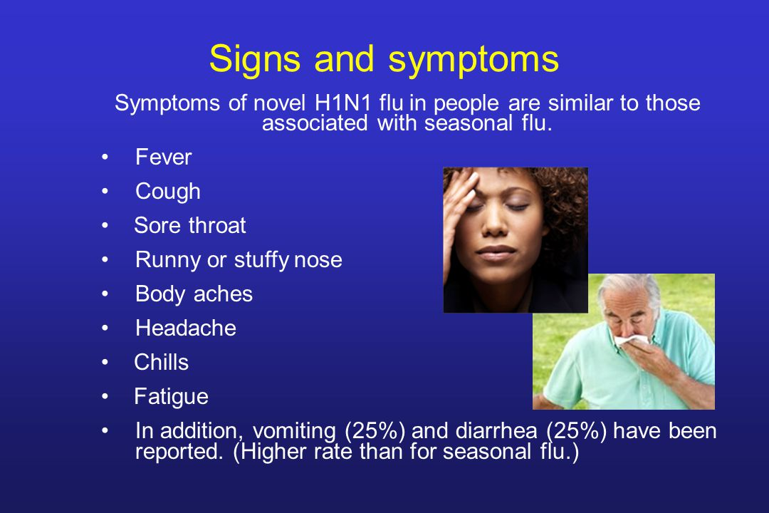 Signs and symptoms Symptoms of novel H1N1 flu in people are similar to those associated with seasonal flu.